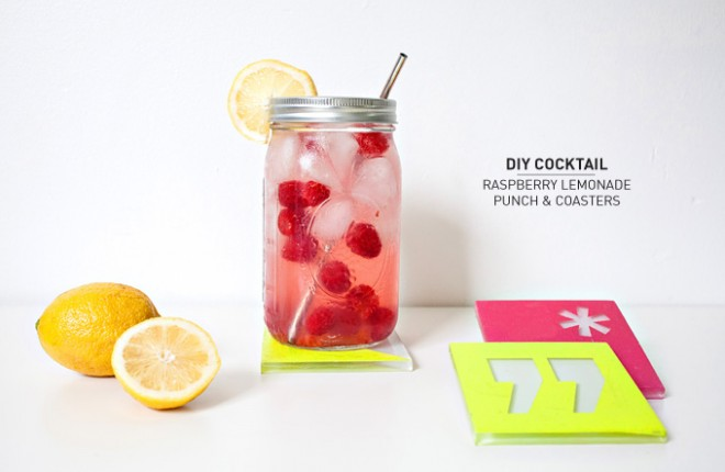 DIY COCKTAIL | Raspberry Lemonade Punch & Coasters