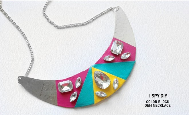 MY DIY | Color Block Gem Necklace