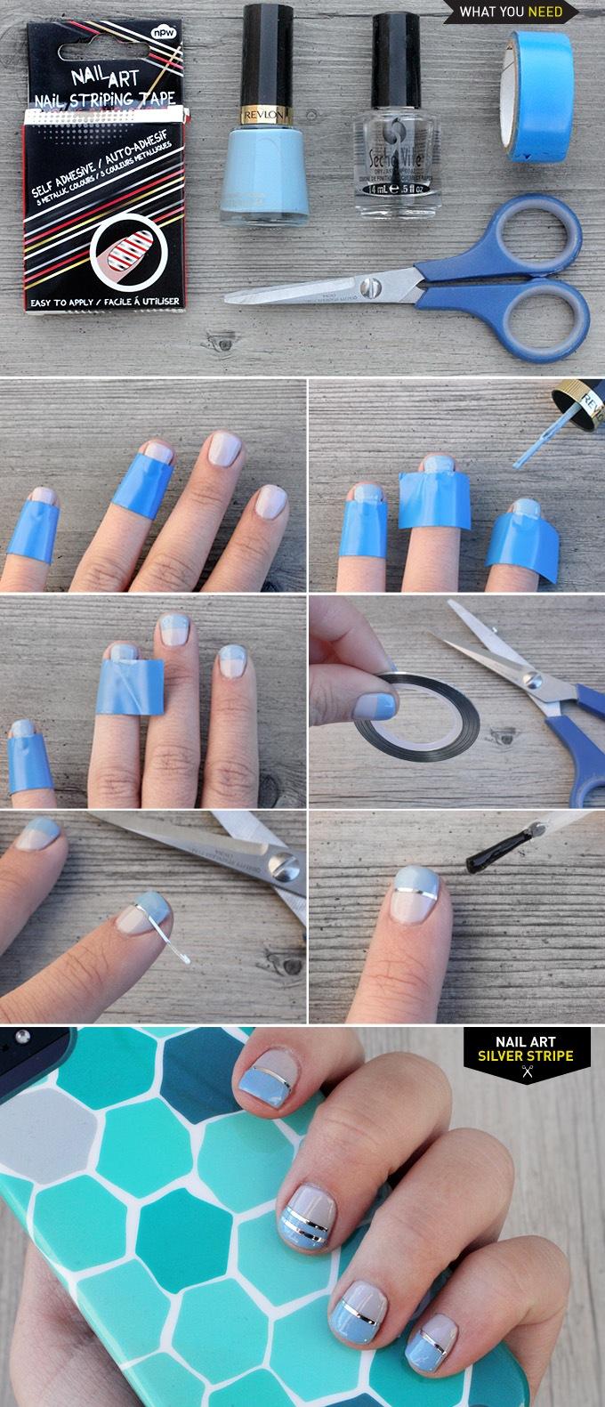 DIY NAIL ART | Silver Stripe