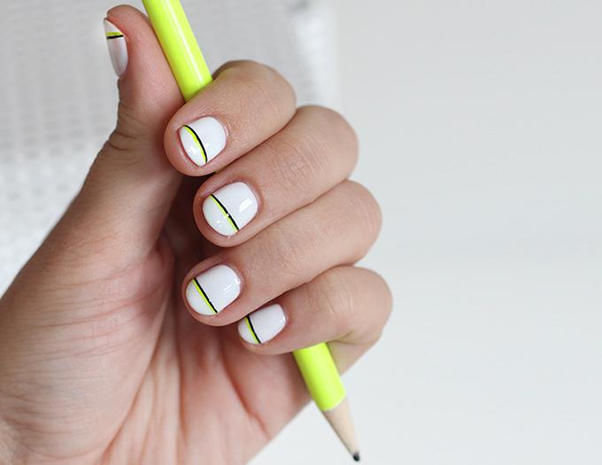NAIL ART   Black & Neon Accent Stripe