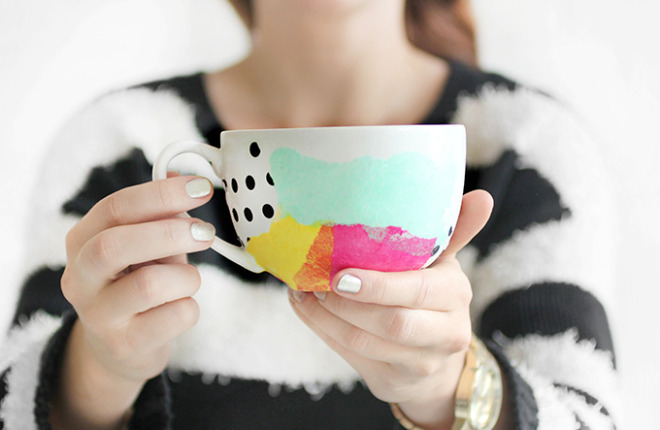 MY DIY | Tissue Paper Watercolor Mug
