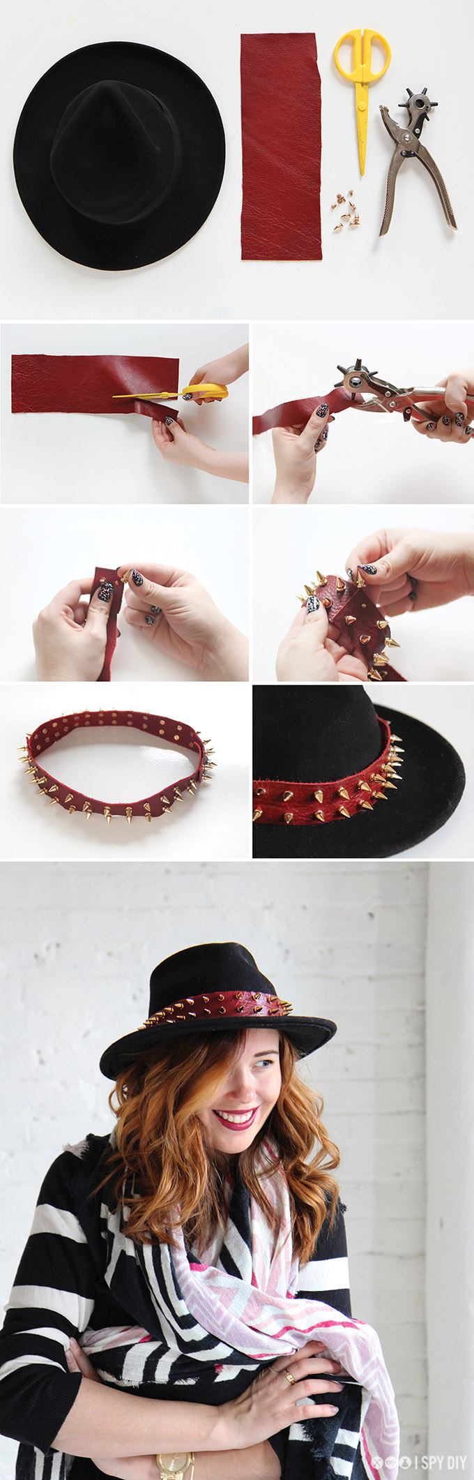 my diy | spiked hat band