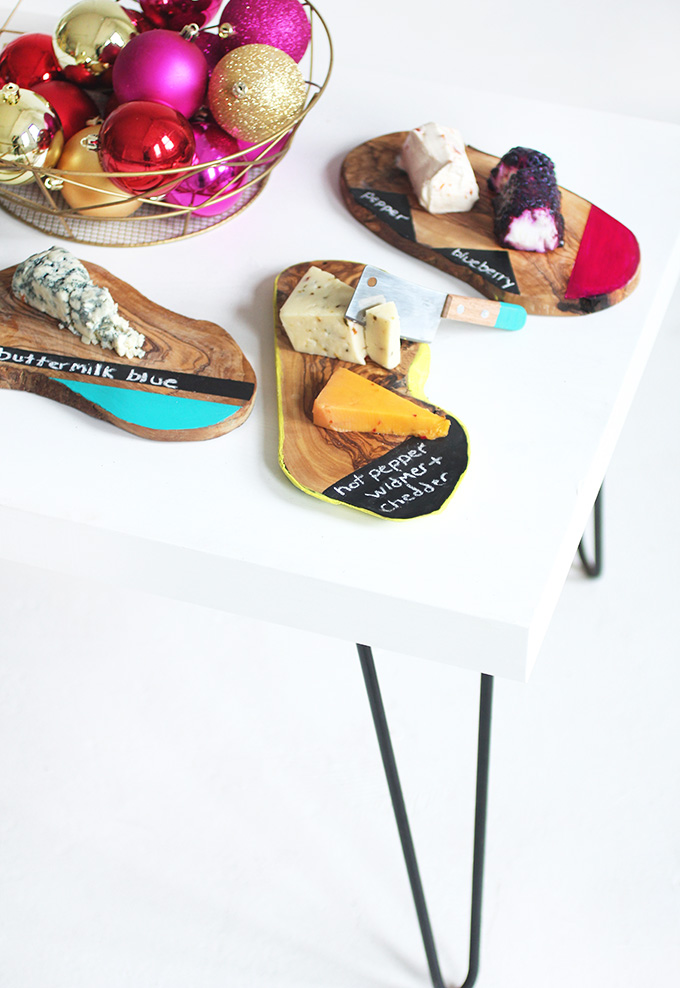 ... Colorblock Chalkboard Cheese Plate. DIY PROJECT Holiday DIY Home DIY  sc 1 st  I Spy DIY & HOLIDAY DIY | Colorblock Chalkboard Cheese Plate