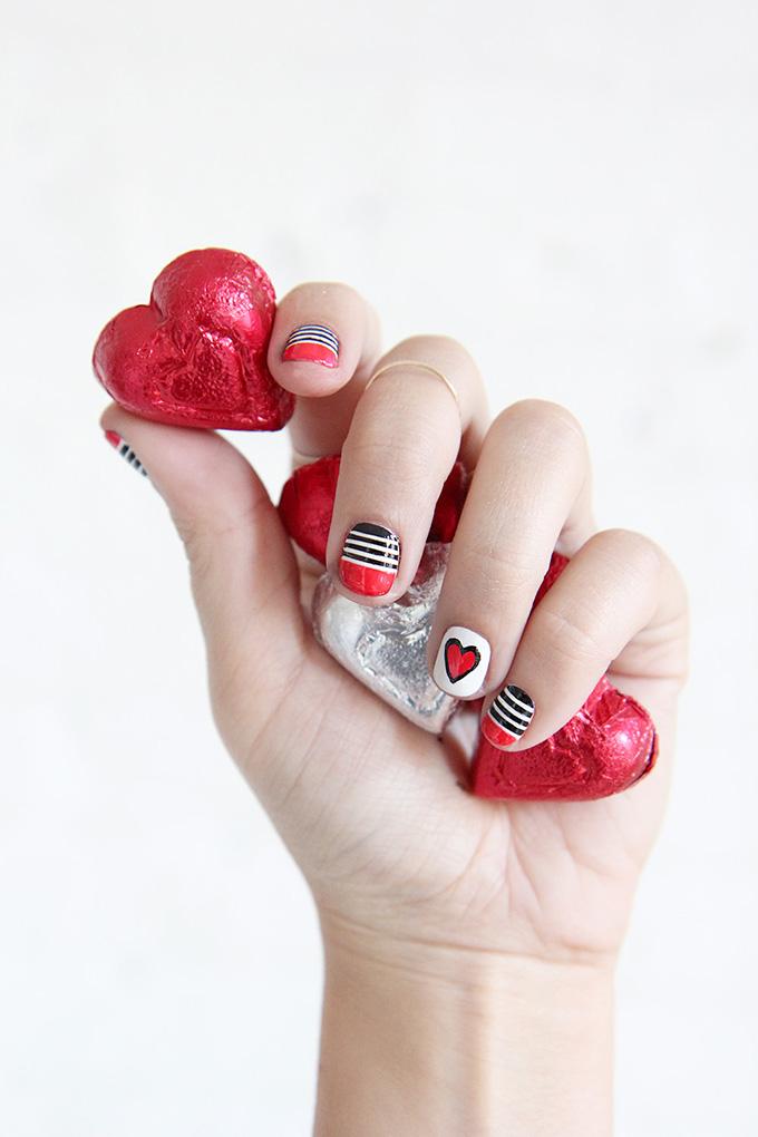 NAIL ART | Valentine\'s Day Stripes & Hearts