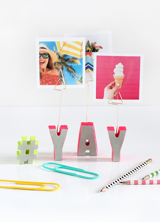 Cement Letter Photo Stands - I Spy DIY