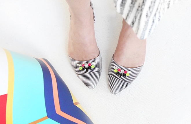 MY DIY | Striped Gem Shoes