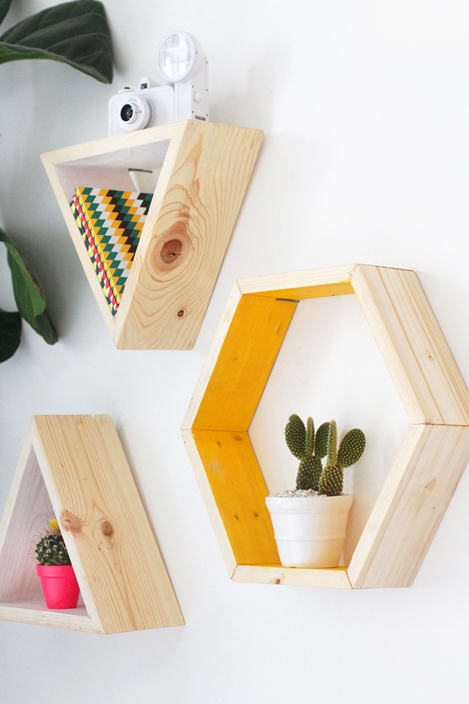 geometric wall shelving