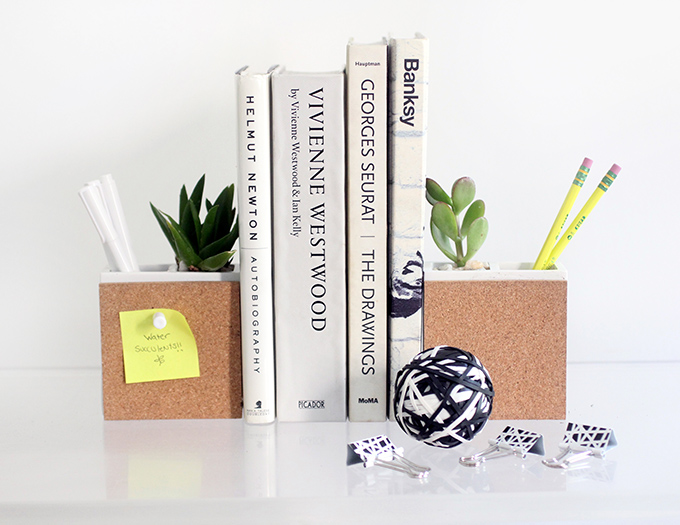 MY DIY   Succulent & Supply Holder Bookends