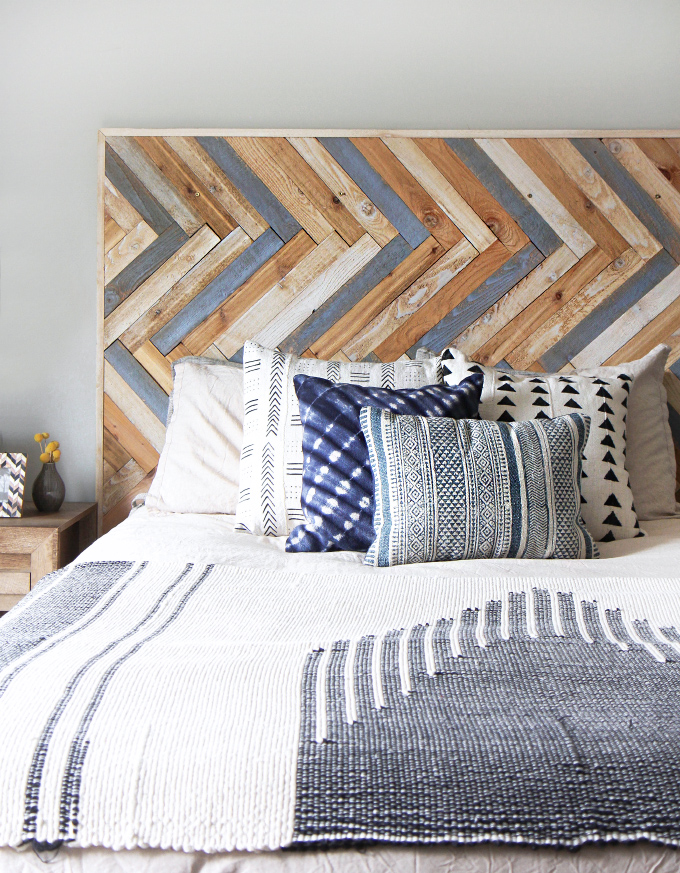 my diy herringbone wood headboard. Black Bedroom Furniture Sets. Home Design Ideas