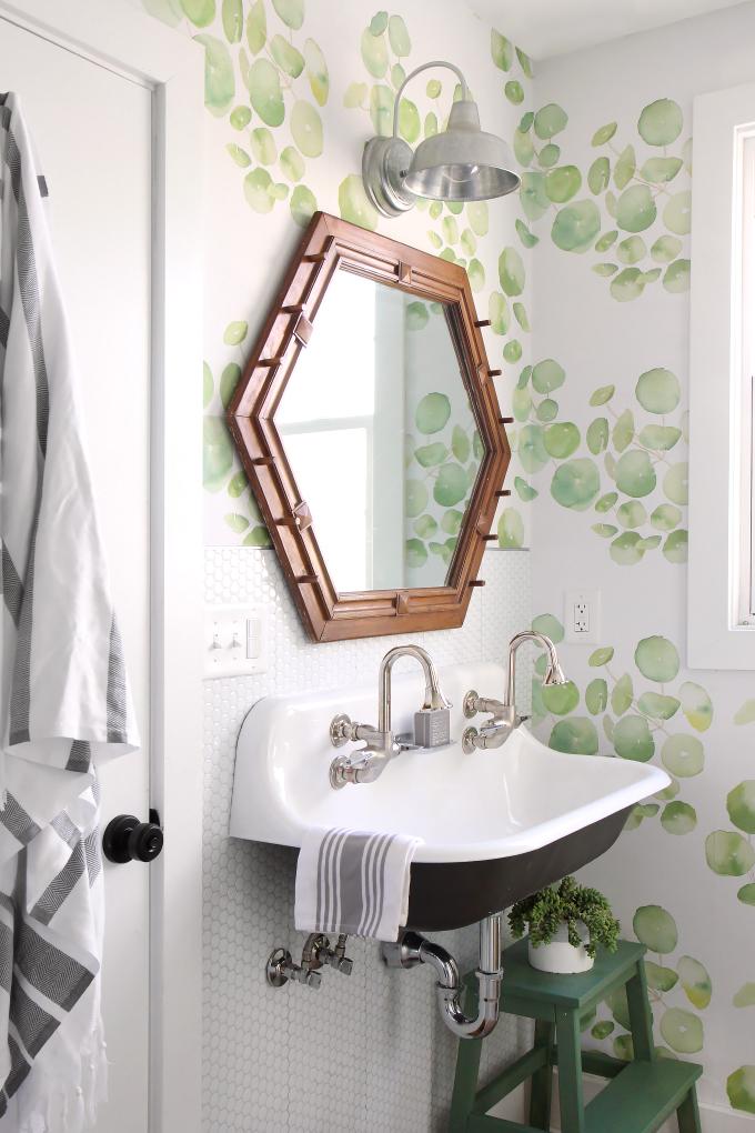 Diy Home Guest Bathroom Makeover With Removable Wallpaper Tile I Spy Diy