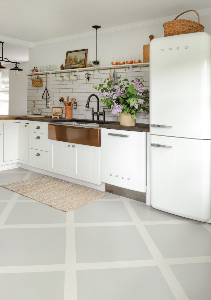 patterned painted wood floors in a white farmhouse kitchen