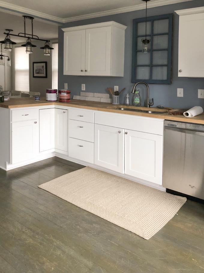 original hardwood floors before the kitchen renovation