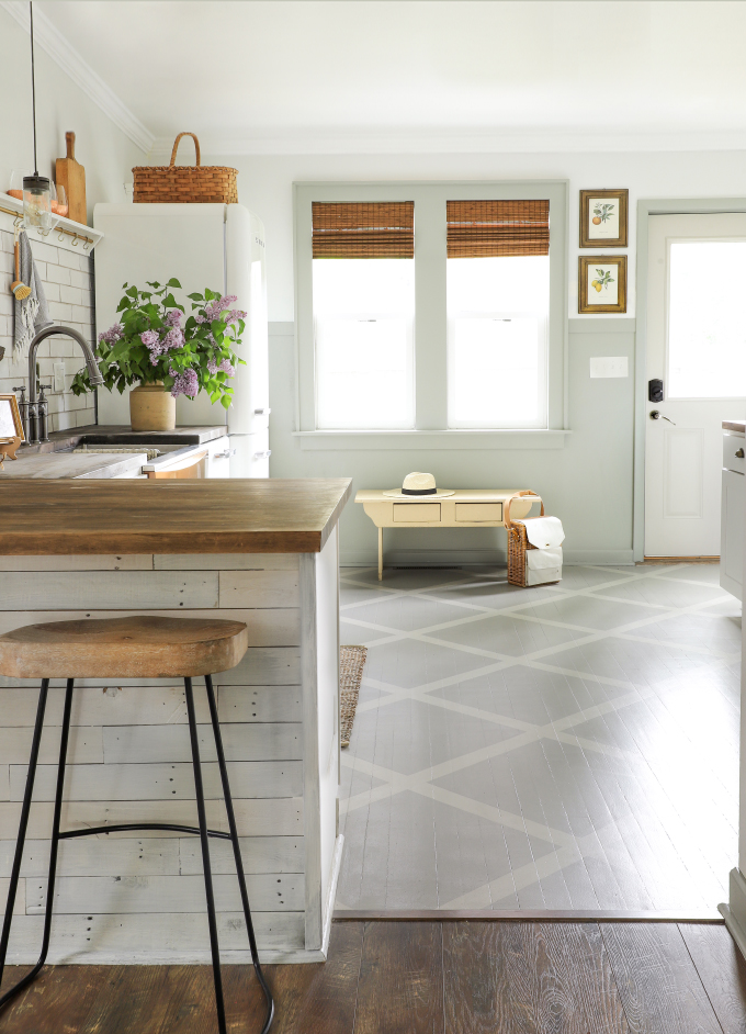 painted wood floors in a farmhouse kitchen