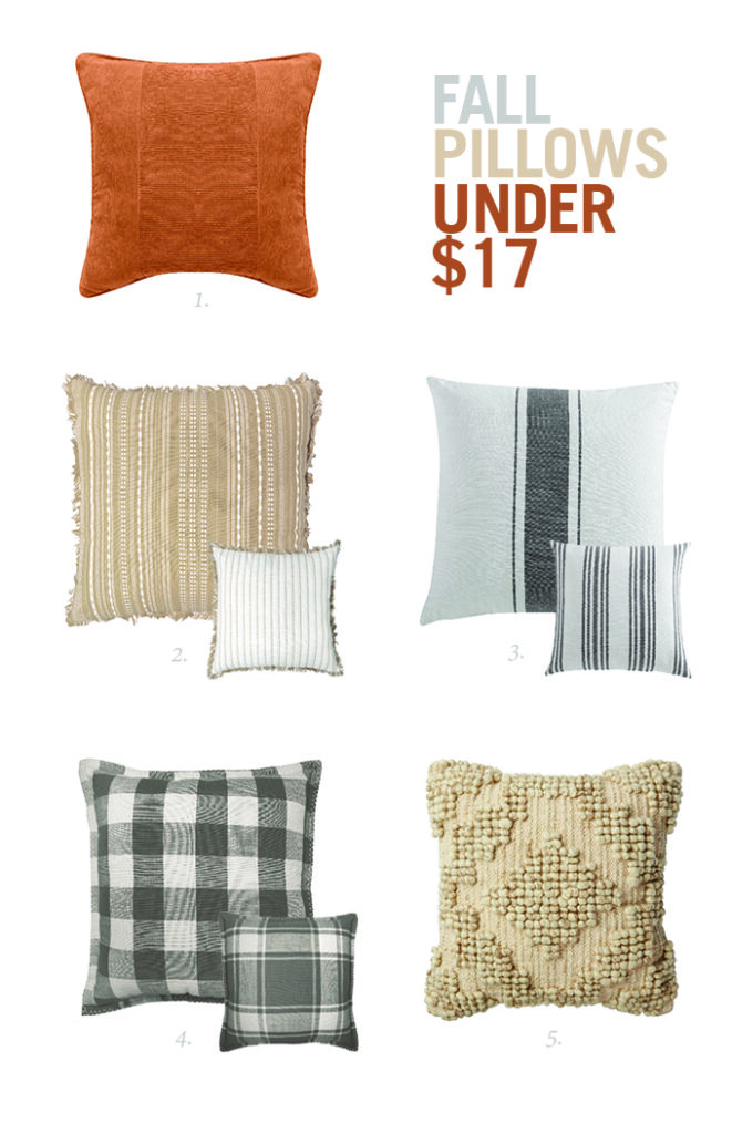 five different sets of fall pillows under $17 from I Spy DIY