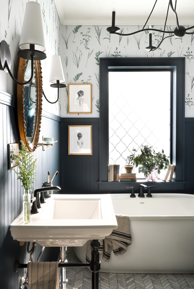 Farmhouse Bathroom with Botanical Wallpaper from I Spy DIY