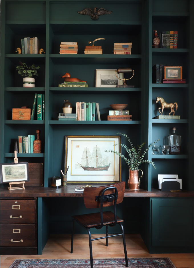 emerald green built-in that serves as a desk from I Spy DIY