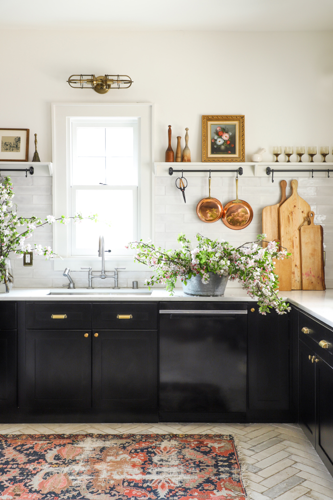florals on a farmhouse kitchen counter from I Spy DIY