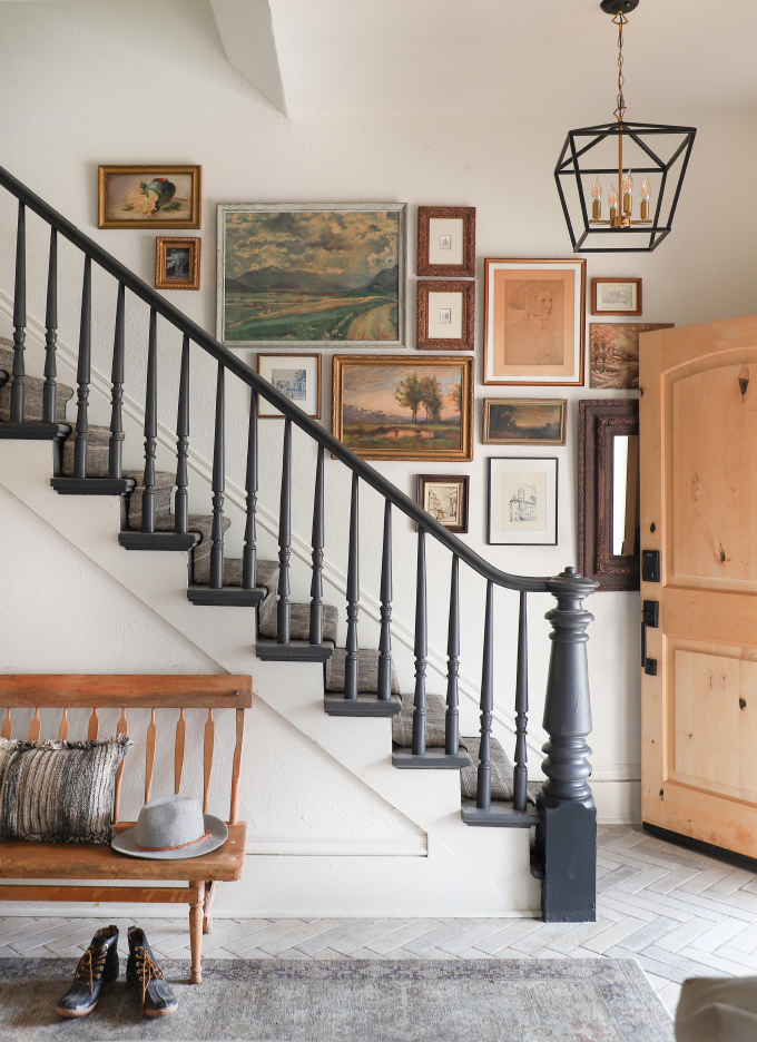 farmhouse staircase with gallery wall from I Spy DIY