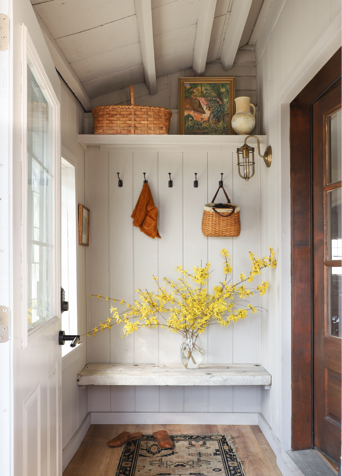 a white shiplap mud room from I Spy DIY