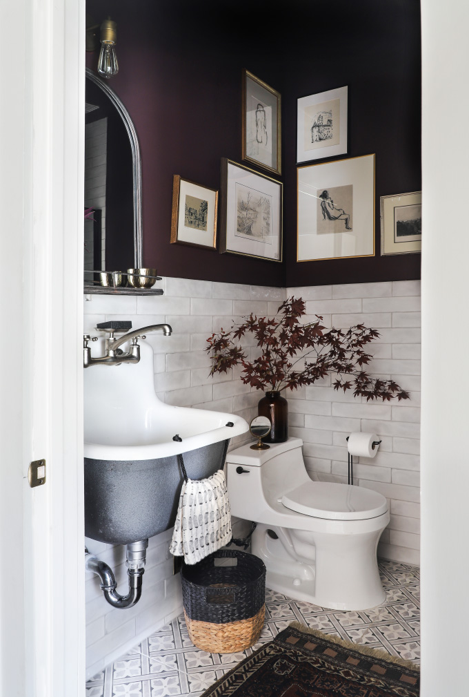 Eggplant-Colored Bathroom with Gallery Wall from I Spy DIY